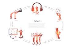 Scopi - visione, supporto, gruppo, strategia, concetto stabilito di motivazione illustrazione di stock