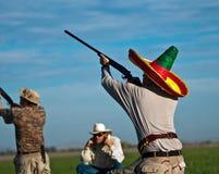 Scopo delle prese dei cacciatori della colomba Fotografia Stock
