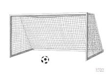 Scopo di calcio Attrezzatura del gioco di calcio Llustration disegnato a mano di vettore Isolato su priorità bassa bianca illustrazione vettoriale