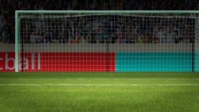 Scopo di calcio con la gente sulla rappresentazione del fondo 3d Fotografia Stock Libera da Diritti
