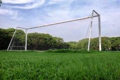 Scopo di calcio e di calcio Fotografia Stock