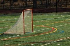 Scopo di lacrosse su un campo del tappeto erboso fotografia stock libera da diritti