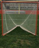 Scopo di lacrosse su un campo di erba prima di un gioco fotografia stock