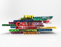 Scopo, direzione, migliore, concetto fortunato delle parole incrociate 3d Immagini Stock