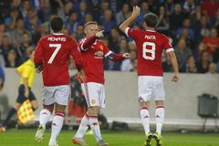 Scopo Wayne Rooney Champion League FC Bruges - Manchester United Fotografie Stock