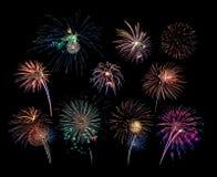 10 scoppi del fuoco d'artificio Fotografia Stock