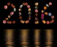 Scoppi del fuoco d'artificio sistemati come il numero 2016 Fotografia Stock