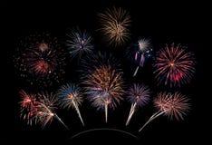 10 scoppi del fuoco d'artificio sulla curva Fotografie Stock