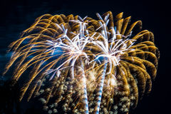 Scoppi di bianco dell'oro di celebrazione dei fuochi d'artificio del fuoco d'artificio Immagini Stock