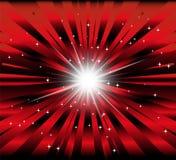 Scoppi il fondo rosso e nero con il raggio e la luce della stella Immagine Stock