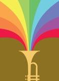 Scoppio del corno di jazz: Rainbow Fotografia Stock Libera da Diritti
