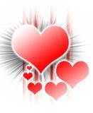 Scoppio del disegno del cuore su bianco Fotografia Stock