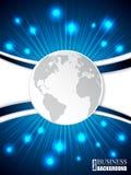 Scoppio dell'opuscolo con l'onda ed il globo blu Immagini Stock