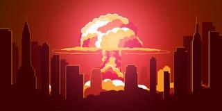 Scoppio di bomba atomica in deserto Retro manifesto del fumetto Fungo atomico Illustrazione di vettore illustrazione di stock