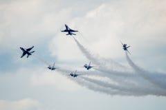 Scoppio di delta dei Thunderbirds del U.S.A.F. Fotografia Stock Libera da Diritti
