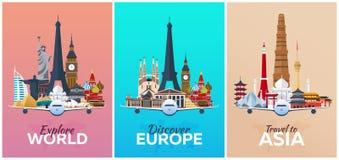 Scopra Europa, esplori Europa, viaggio in Asia vacanza Viaggio a paese Illustrazione di viaggio Piano moderno illustrazione vettoriale