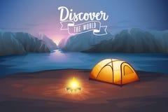 Scopra il manifesto del mondo, paesaggio di notte con la tenda illustrazione di stock