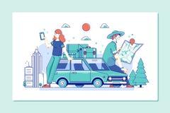 Scopra il mondo Il viaggio esplora, scopre e scatta al mondo Accoppi dei turisti che consultano una guida e uno smartphone della  illustrazione di stock