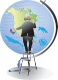Scopra l'America Alto maestro di scuola di geografia e del globo royalty illustrazione gratis
