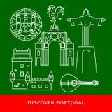 Scopra l'insegna del Portogallo o il modello del manifesto con le icone nella linea stile illustrazione vettoriale