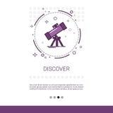 Scopra l'insegna di web di scienza di astronomia del telescopio con lo spazio della copia royalty illustrazione gratis