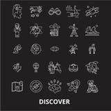 Scopra la linea editabile insieme di vettore delle icone su fondo nero Scopra le illustrazioni bianche del profilo, i segni, simb royalty illustrazione gratis