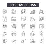 Scopra la linea le icone, i segni, l'insieme di vettore, concetto dell'illustrazione del profilo illustrazione vettoriale