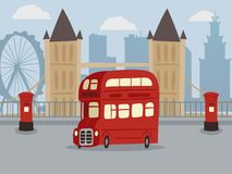 Scopra Londra sull'illustrazione rossa di vettore dell'insegna del bus del doppio ponte Bus del veicolo di servizio di trasporto  illustrazione di stock