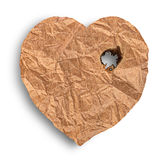 Scorched crumpled paper heart. Isolated on white background Royalty Free Stock Photography