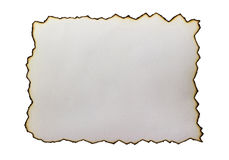 Scorched at the edges of the paper isolated. Scorched at the edges of the paper isolated Royalty Free Stock Photo