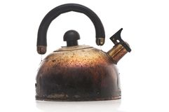 Scorched kettle. On white background Stock Photos