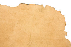 Scorched paper. Isolated beige scorched paper as a backround Stock Photo