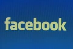 Scorciatoia di Pixelated Facebook sulla fine del monitor del computer sul colpo immagini stock libere da diritti