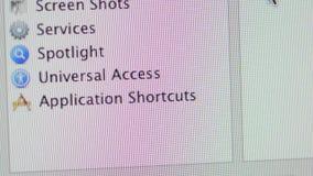Scorciatoie per i apps nel MaOS di Apple sul computer di iMac stock footage