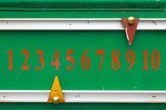 Score board. Green Score board with ten number Stock Images