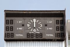 Score board. Traditional score board at stadium Royalty Free Stock Photos