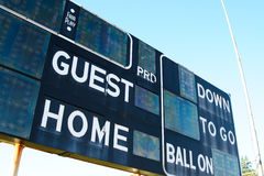 Score board. A shot of a score board on a football stadium Royalty Free Stock Photography