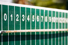 Score board. Close up old and dirty green score board table,very soft focus Stock Photo