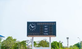 Score board at football stadium. With sky Stock Photo