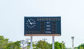 Score board at football stadium. With sky Royalty Free Stock Images