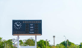 Score board at football stadium. With sky Stock Photos