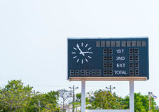 Score board at football stadium. With sky Royalty Free Stock Photos