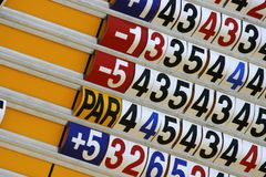 Score Board Of Golf Tournament. Close up on score board of golf tournament Royalty Free Stock Photo