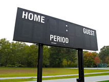 Score board on outdoor sports field Stock Photos