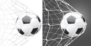 Score a goal, soccer ball. And stretched net Royalty Free Stock Photography