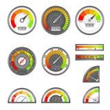 Score indicator. Speedometer indicators level score, scale panel accelerate rating, rate credit gauge vector set vector illustration