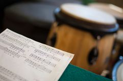 Score and kettledrum Stock Photos