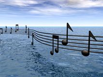 Score music over the sea Royalty Free Stock Image
