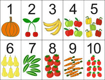 Score of one to ten, located next the desired quantity fruit or vegetables. stock illustration