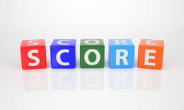 Score out of multicolored Letter Dices Stock Photos